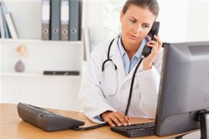 woman-doctor-on-phone-300x200